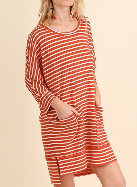 3/4 SLEEVE STRIPED T-SHIRT DRESS RED