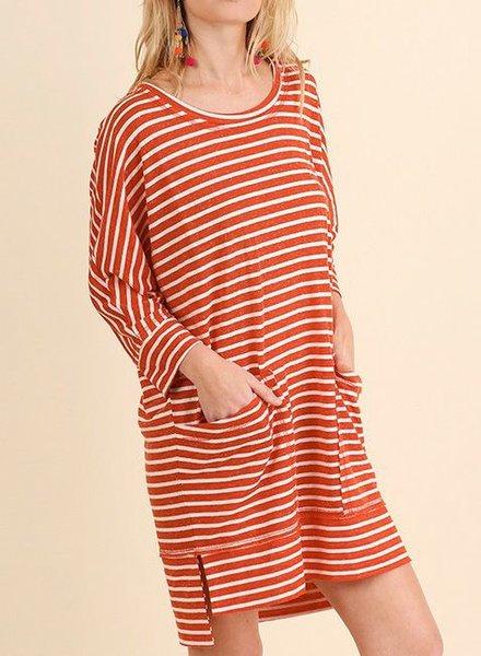 3/4 SLEEVE STRIPED T-SHIRT DRESS RED