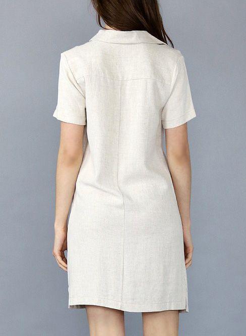 LINEN BUTTON UP SHIRT DRESS NATURAL