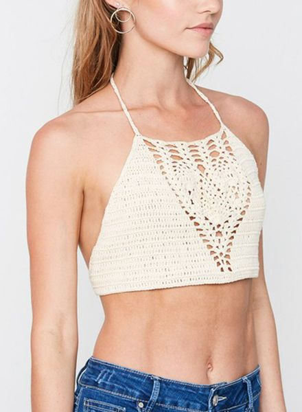 CROCHET HALTER CROP TOP NATURAL
