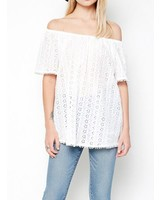 LUCY EYELET OFF SHOULDER TOP