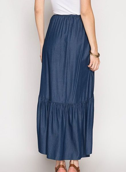 DENIM RUFFLE MAXI SKIRT