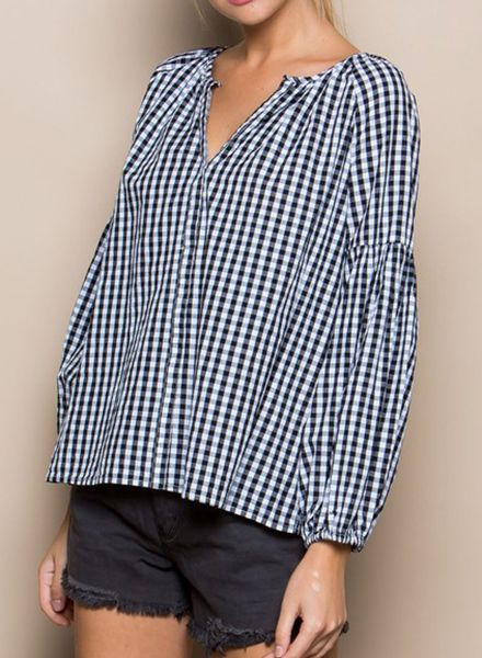 GINGHAM BILLOW SLEEVE TOP