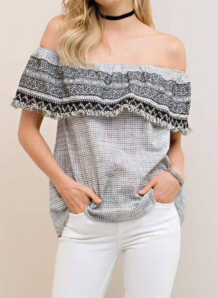 IBIZA OFF THE SHOULDER TOP BLK