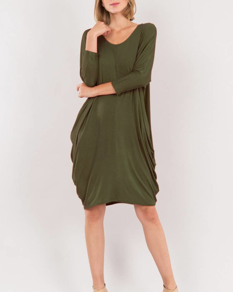 DRAPED 3/4 SLEEVE DRESS OLIVE