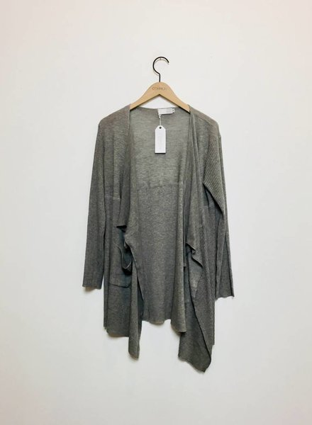 HEATHER LIGHT KNIT CARDIGAN GREY