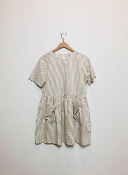 LENNON STRIPE BABYDOLL DRESS TAN