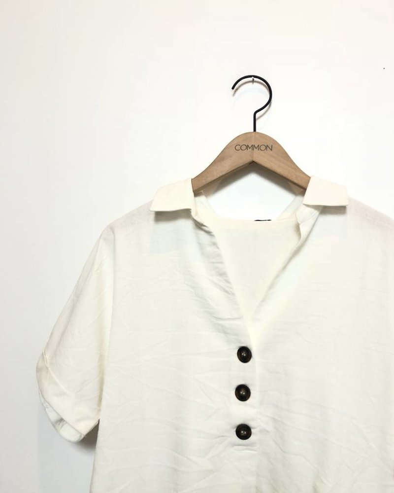 LAURA LINEN TOP WHITE