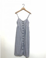 ANYA BUTTON STRIPE DRESS BLUE/WHITE