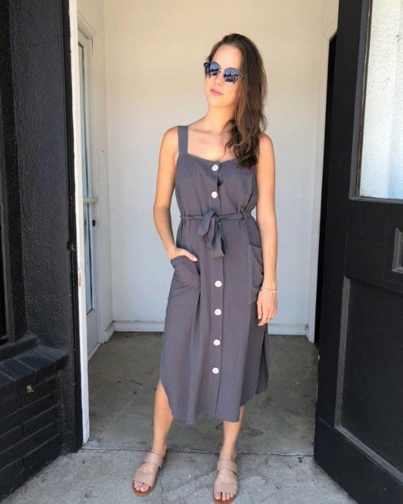 SEVILLA BUTTON DRESS GREY