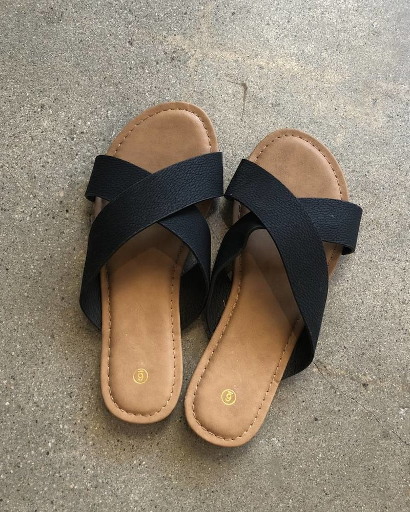 CRISS CROSS SLIDES BLK