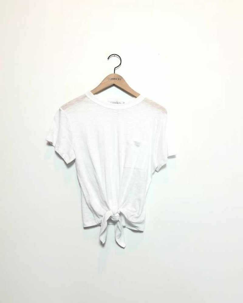 KIRA KNOTTED TEE WITH POCKET WHITE