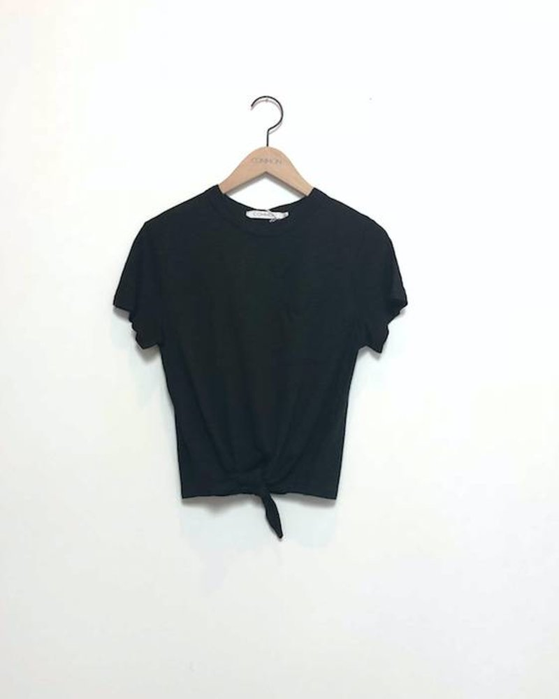 KIRA KNOTTED TEE WITH POCKET BLK
