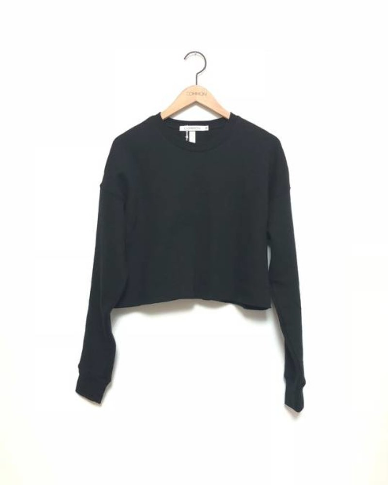 SHAE CROPPED CREW FLEECE BLK