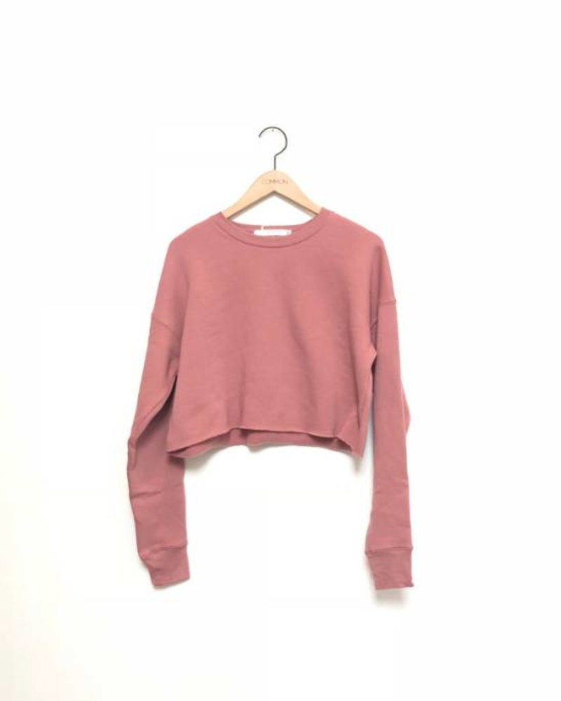 SHAE CROPPED CREW FLEECE MAUVE