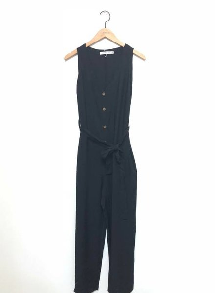 LENA BUTTONDOWN JUMPSUIT BLK