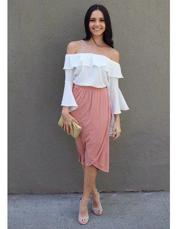 Ribbed Midi Wrap Skirt
