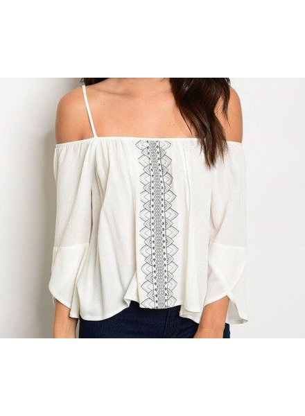 Shoptiques Vicki Embroidery Off Shoulder Top