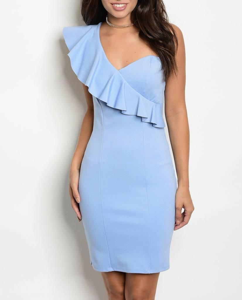 Shoptiques Priscilla One Shoulder Ruffle Dress