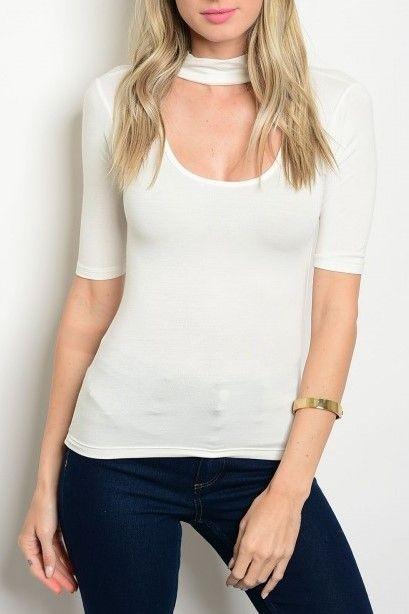 Shoptiques Pam Choker 1/2 Sleeve Top