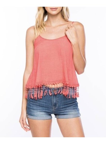 Shoptiques Fringe Trim Crop Top
