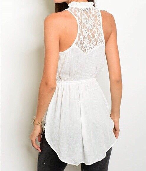 Shoptiques Lace Back Sleeveless Blouse