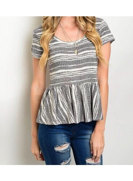 Shoptiques Peplum Striped Tee