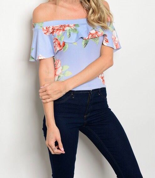 Shoptiques Floral Off Shoulder Ruffle Top