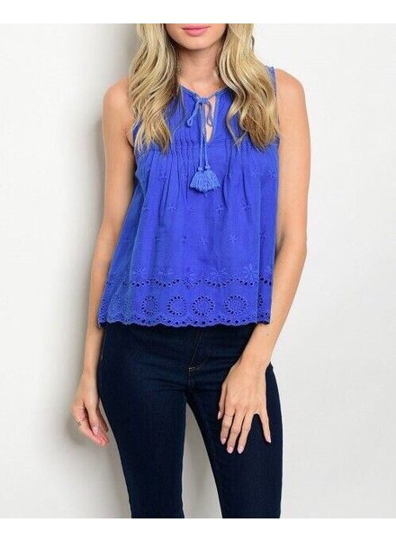 Shoptiques Eyelet Embroidered Tassel Tank