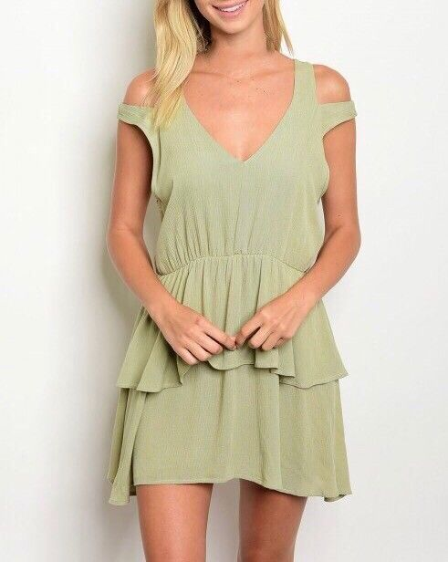 Shoptiques Cold Shoulder Layered Ruffle Dress