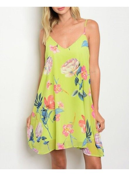 Shoptiques Lime Light Floral Dress