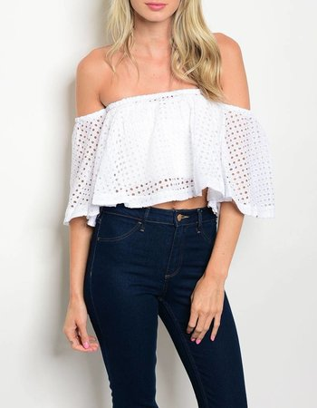 Shoptiques Crochet Cut Outs Off Shoulder Top