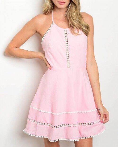 Shoptiques Pom Pom Crochet Trim Dress