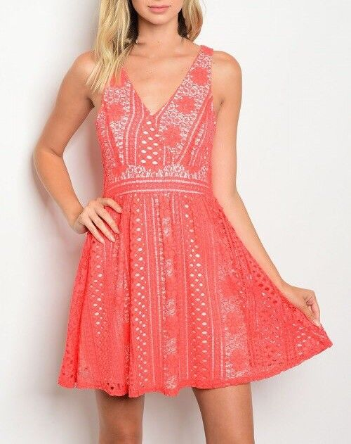 Shoptiques Coral Lace Overlay Dress