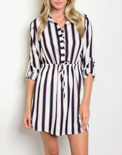 Shoptiques Liberty Stripes Button Up Dress