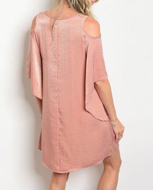 Shoptiques Satin Cold Shoulder Dress