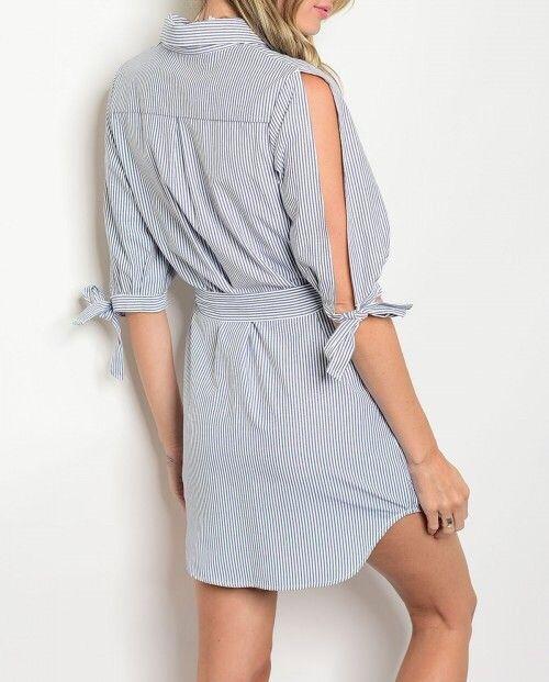 Shoptiques Pin Stripe Open Sleeve Dress
