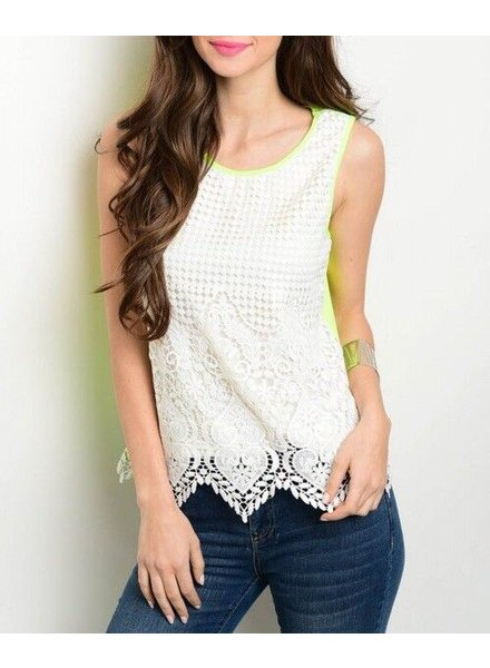 Shoptiques Lace Overlay Neon Back Tank