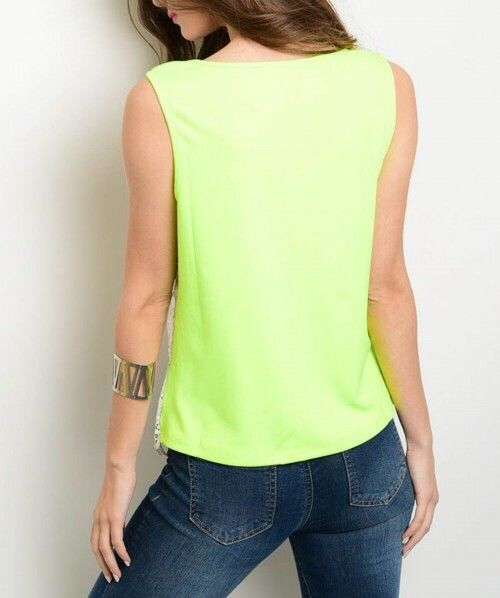 Shoptiques Lace Overlay Neon Back Tank