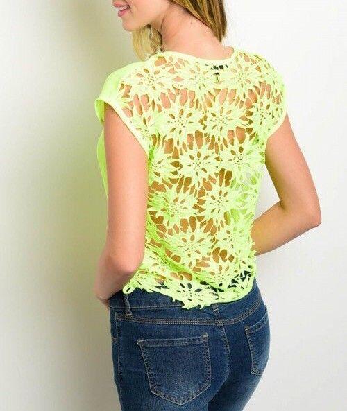 Shoptiques Neon Floral Crochet Back Crop
