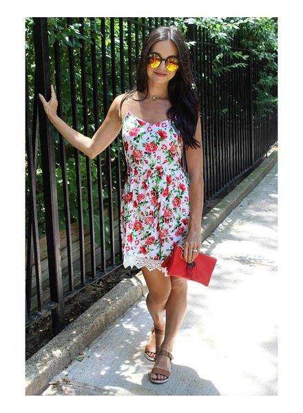 Shoptiques Scalloped Lace Trim Flower Dress