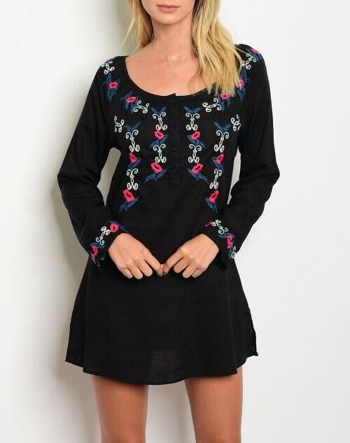 Shoptiques Embroidered Long Sleeve Dress