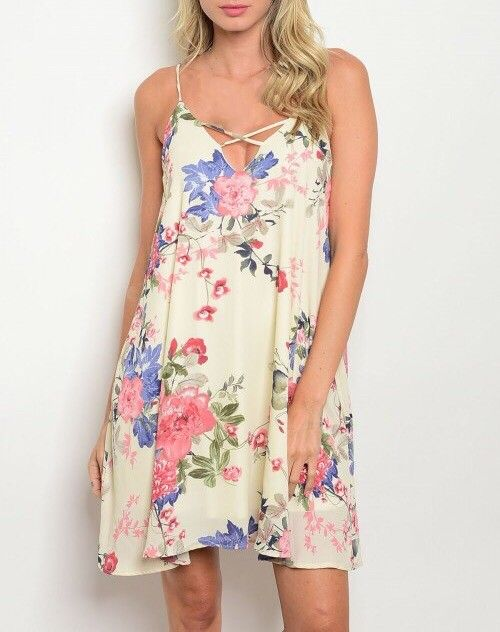 Shoptiques Criss Cross Floral Cami Dress