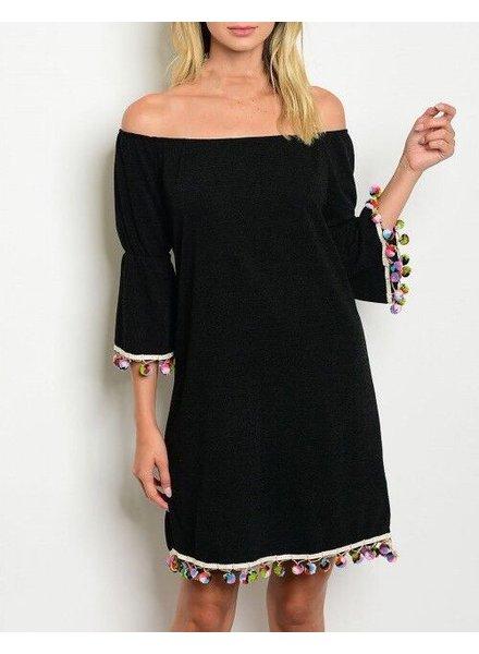 Shoptiques Pom Pom Trim Off Shoulder Dress