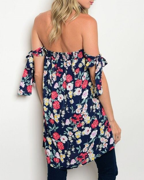Shoptiques Floral Off Shoulder Tunic