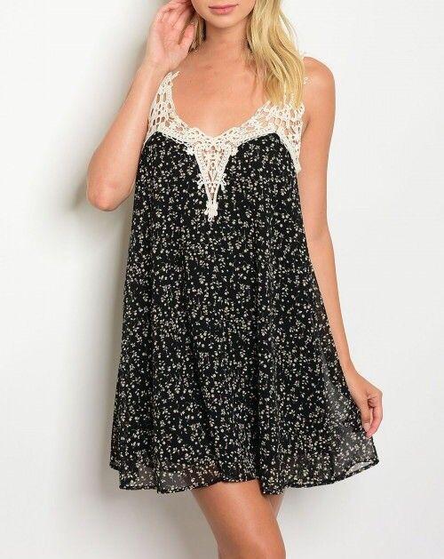 Shoptiques Floral Crochet Trim Dress
