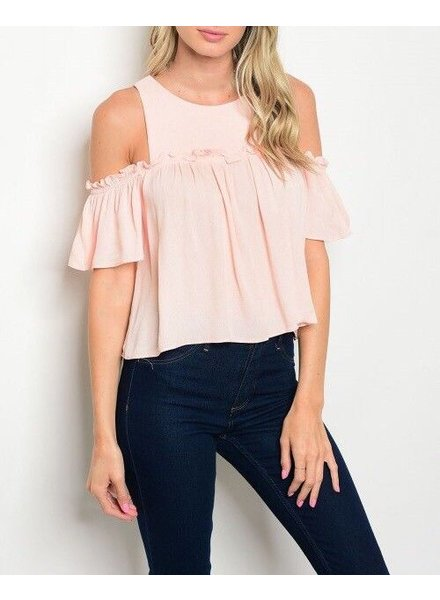 Shoptiques Ruched Cold Shoulder Blouse