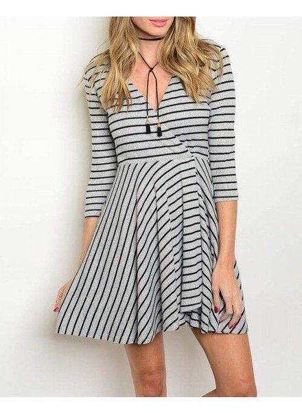 Shoptiques Striped Faux Wrap Dress