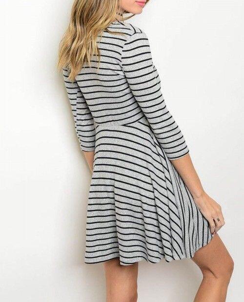 Shoptiques Striped Faux Wrap Dress
