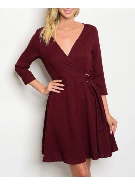 Shoptiques Belted Semi Wrap Dress